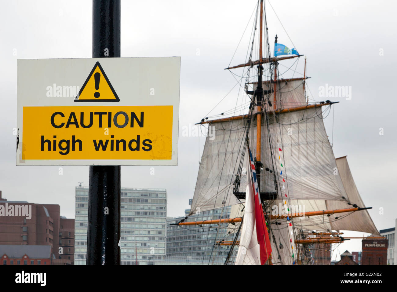 Caution High Winds _Tall ships on display at the International Mersey River Festival 2016 - Stock Image