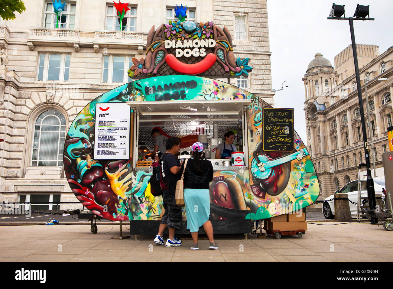 Diamond Dogs a Food stall van at the Afric Oye festival in Sefton Park, Liverpool, Merseyside, UK - Stock Image