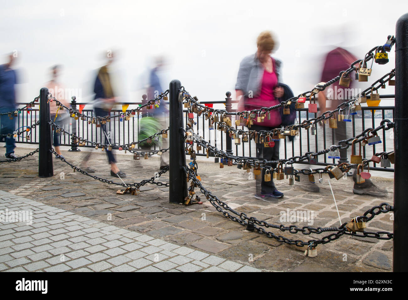 Out of focus, blurred figures, Crowds, tourists, day-trippers, visitors and tourists, visit the tall ships event - Stock Image
