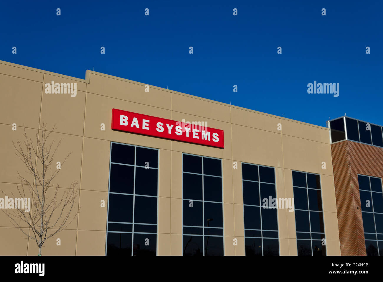 Ft. Wayne, IN - Circa December 2015: BAE Systems Manufacturing Facility. BAE Provides Advanced Aerospace Solutions - Stock Image