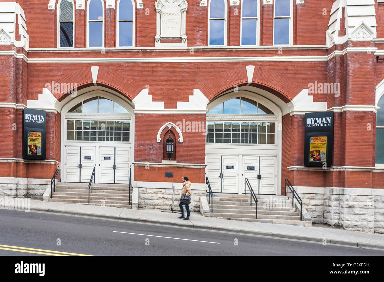 Main entrance to the historic Ryman Auditorium in downtown Nashville, Tennessee - Stock Image