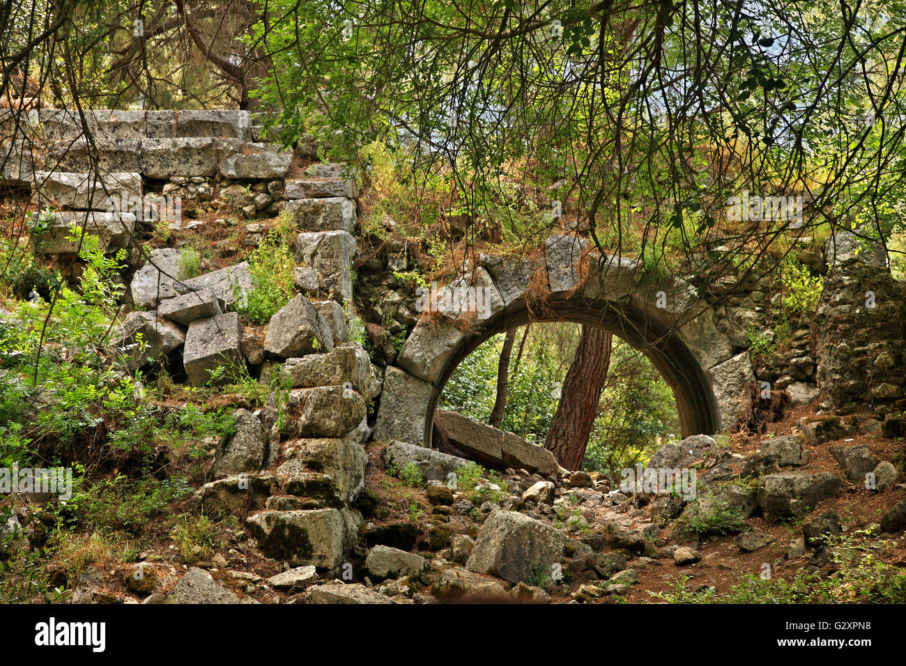 Ruins of an ancient theater at the archaeological site of Olympos, Lycia, Antalya province, Turkey. - Stock Image