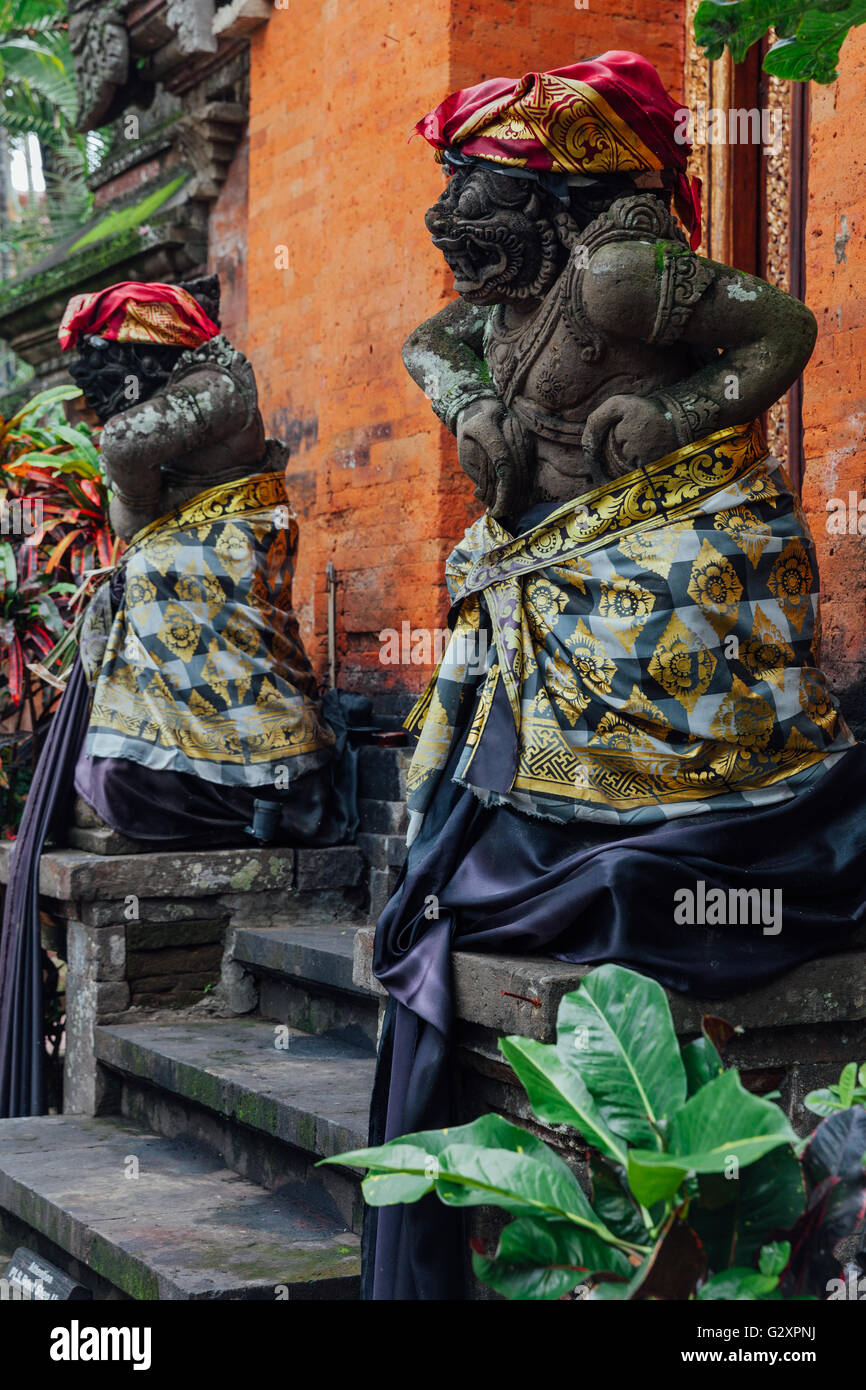 Holy balinese statue in the temple, Ubud, Bali, Indonesia - Stock Image