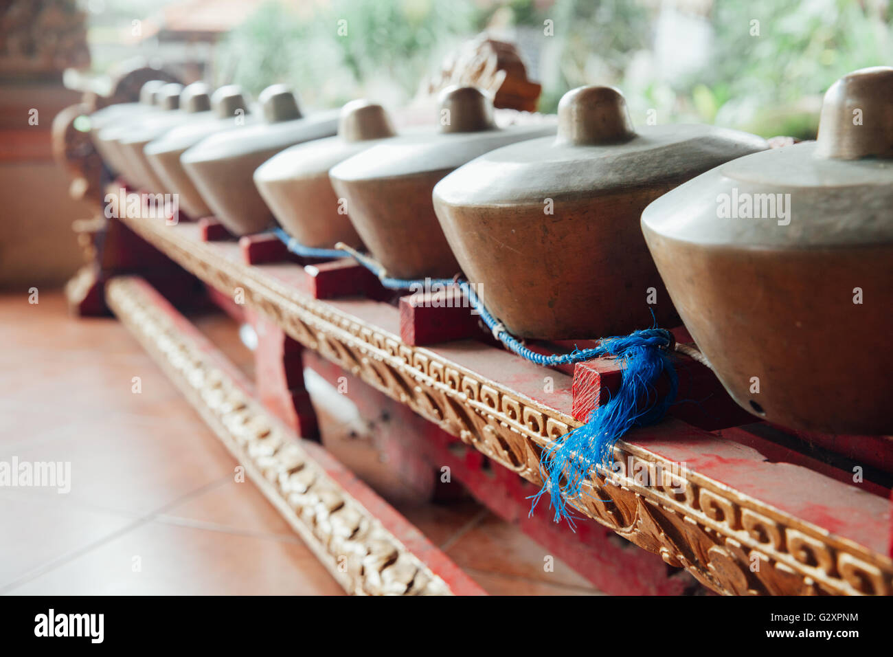 Traditional balinese percussive music instruments instruments for 'Gamelan' ensemble music, Ubud, Bali, - Stock Image