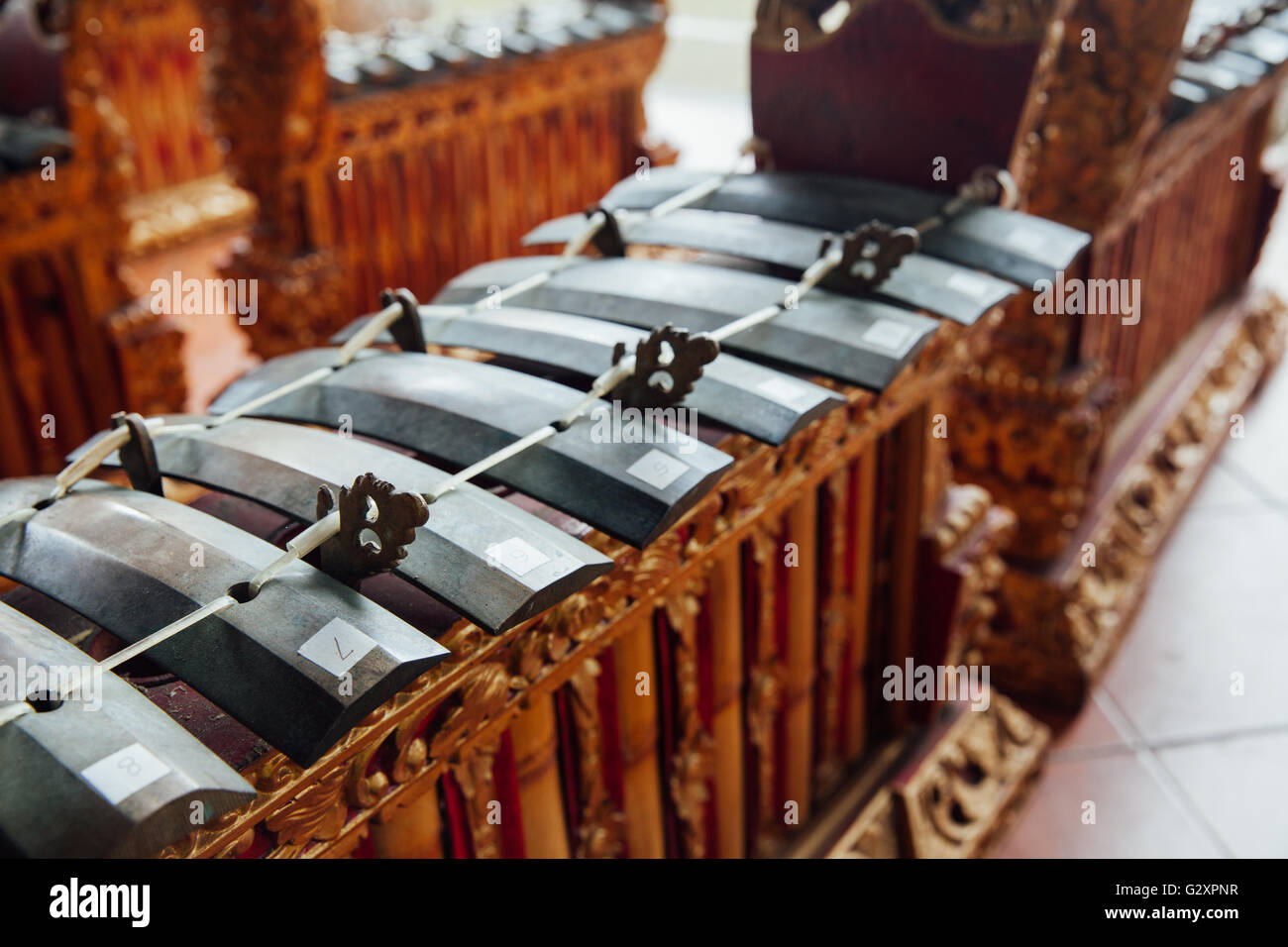 "Traditional balinese percussive music instruments instruments for ""Gamelan"" ensemble music, Ubud, Bali, Indonesia. Stock Photo"