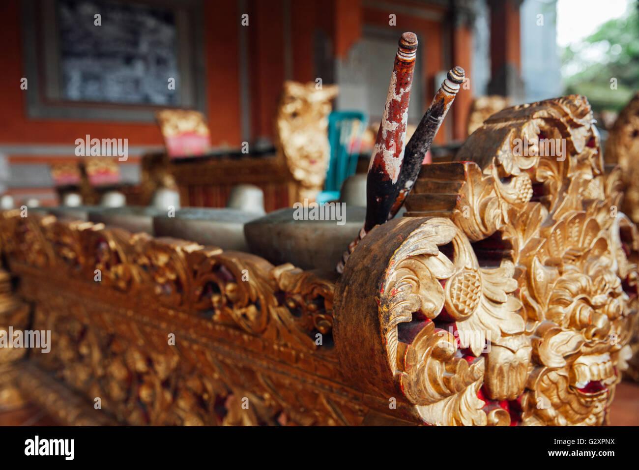 Traditional balinese percussive music instruments instruments for 'Gamelan' ensemble music, Ubud, Bali, - Stock Image