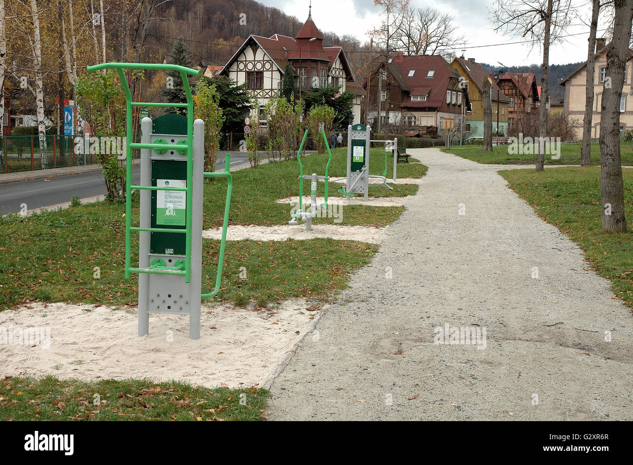 Exercise equipment in park in Piechowice city in Poland - Stock Image