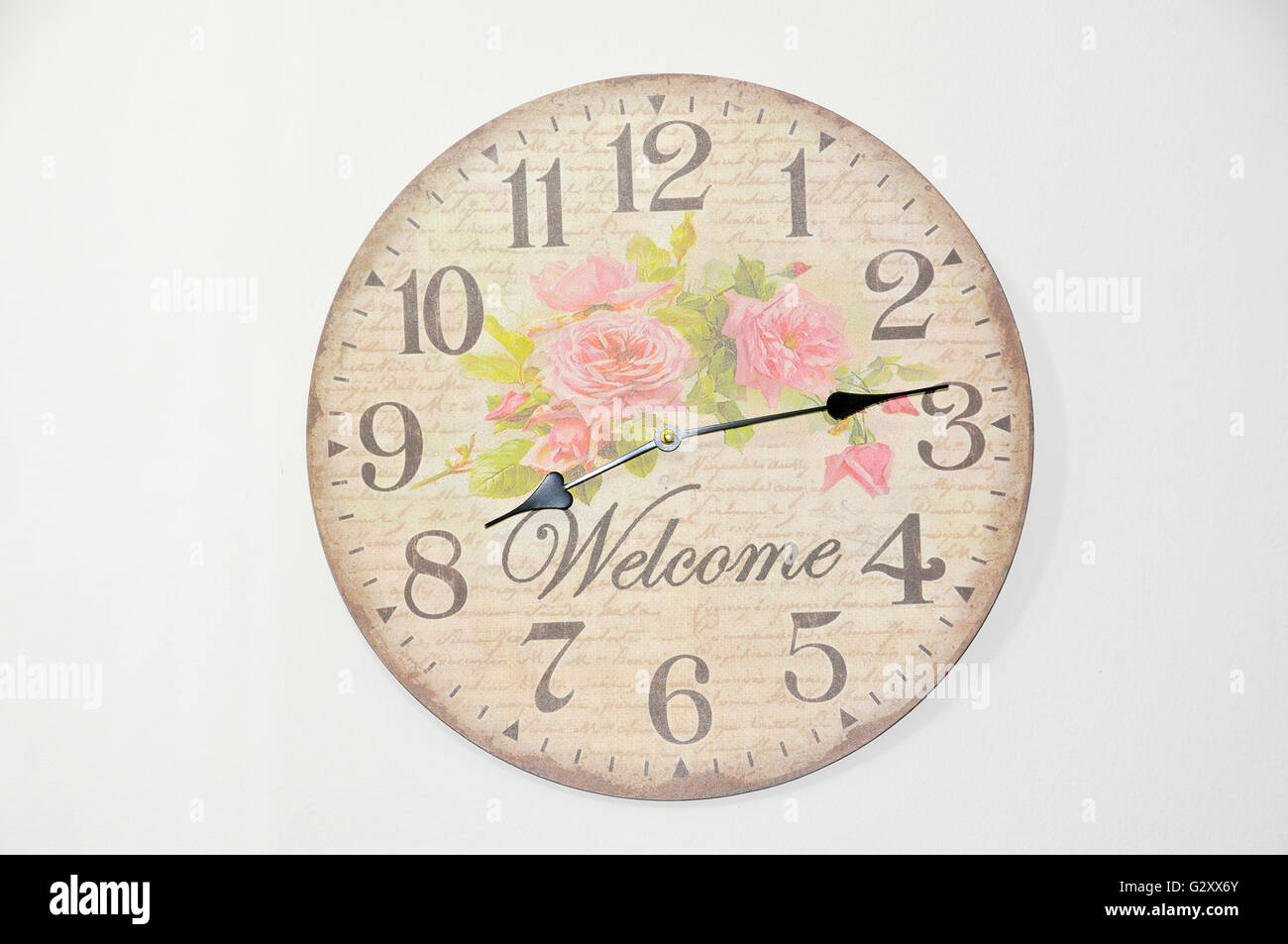wall clock on white - Stock Image
