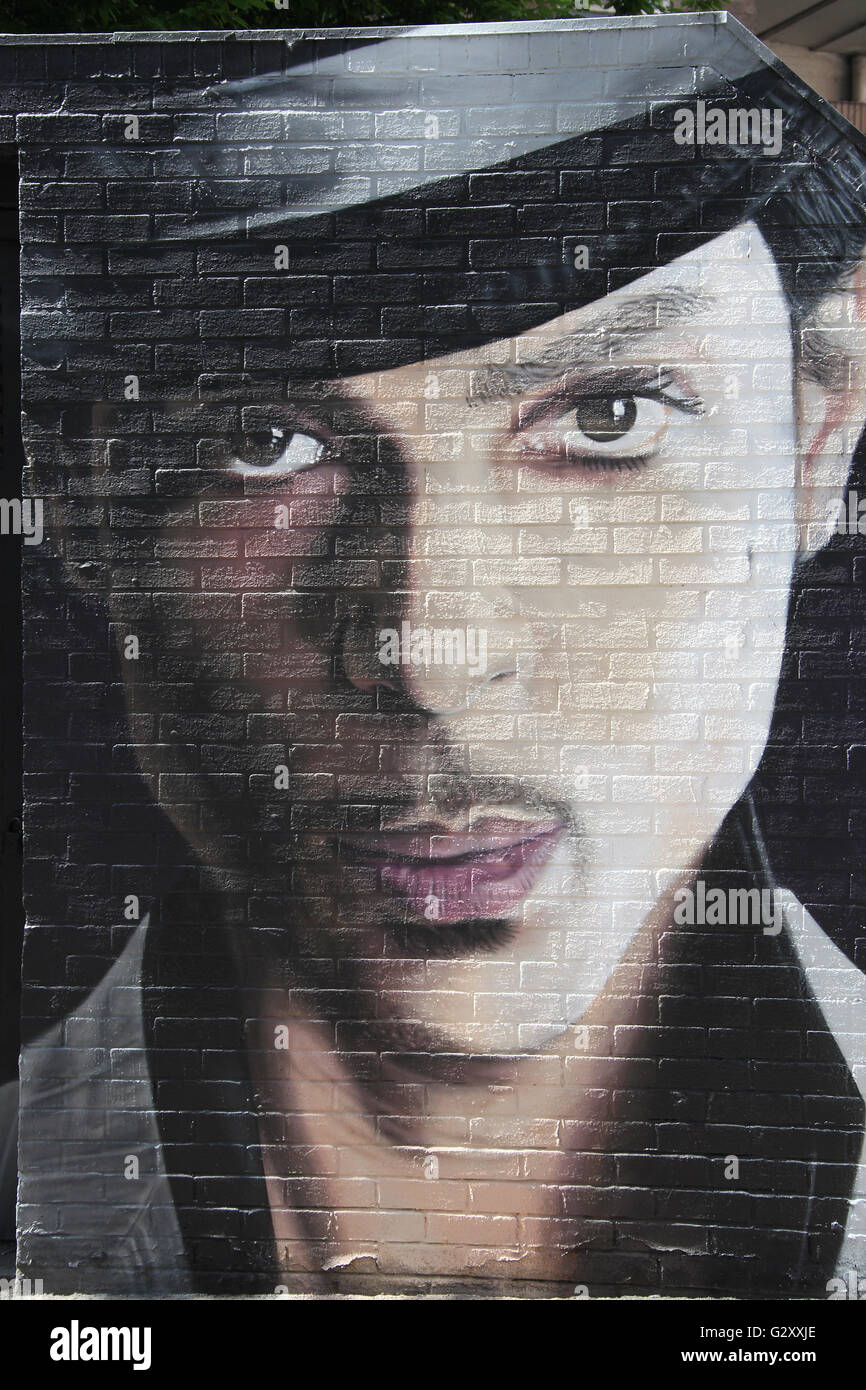 Street art portrait of Prince Rogers Nelson by Akse P19 in the Northern Quarter of Manchester - Stock Image