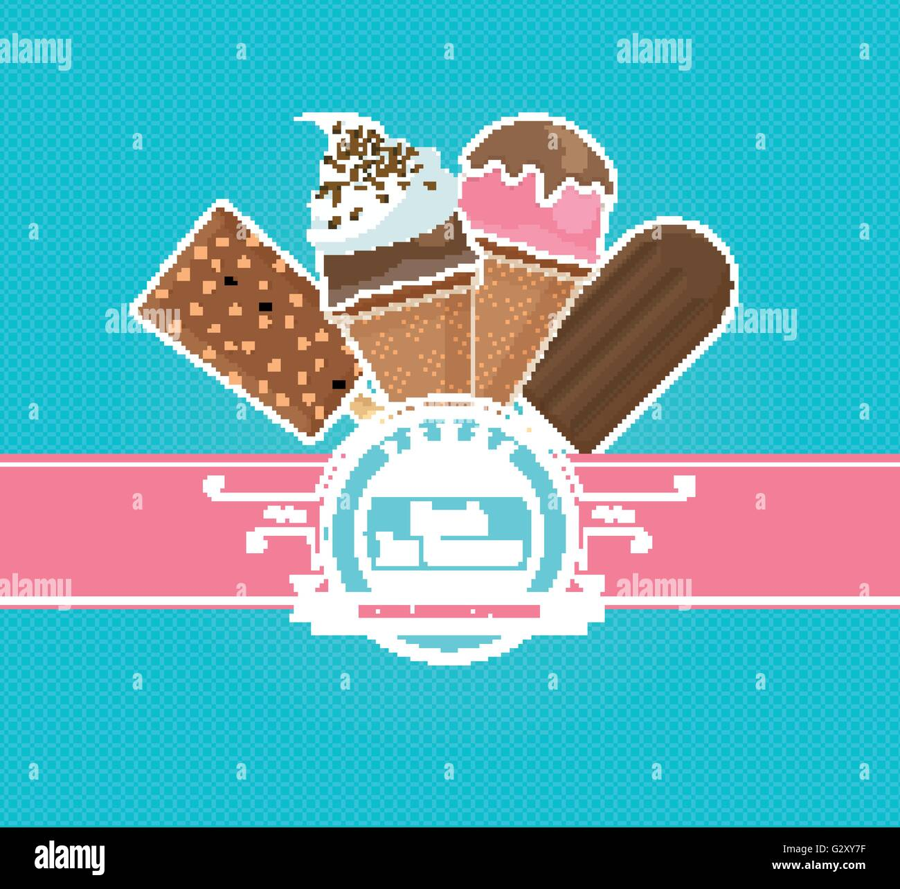 ice cream background, vintage vector Stock Vector