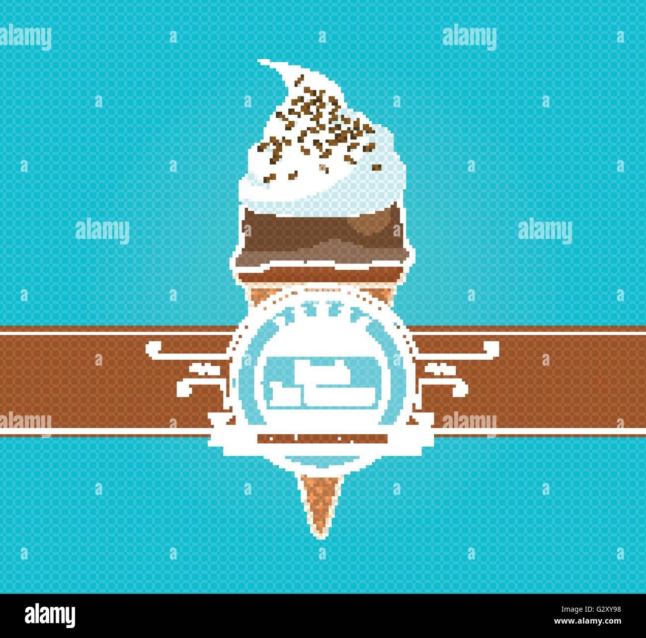 Vintage Ice Cream Poster. Vector illustration. Stock Vector