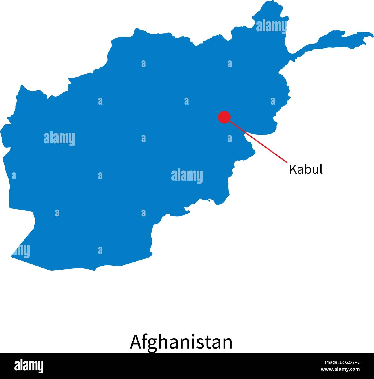 Detailed vector map of Afghanistan and capital city Kabul ...