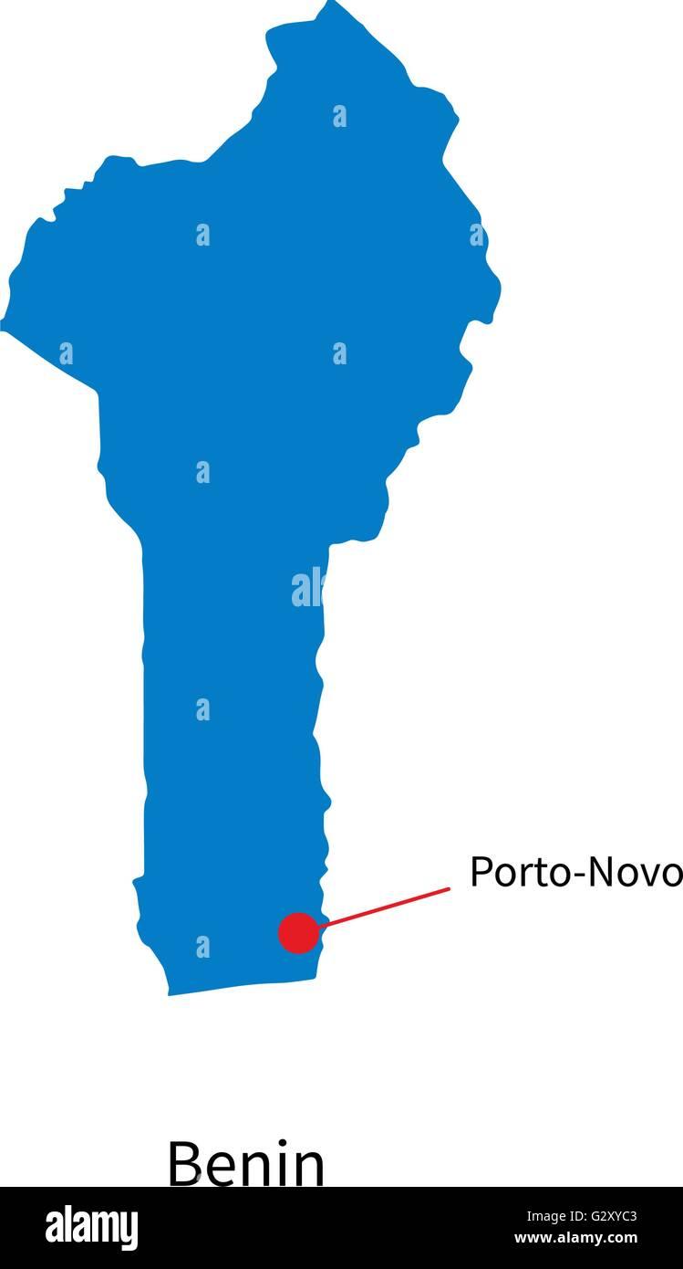 Detailed vector map of Benin and capital city Porto-Novo Stock ...