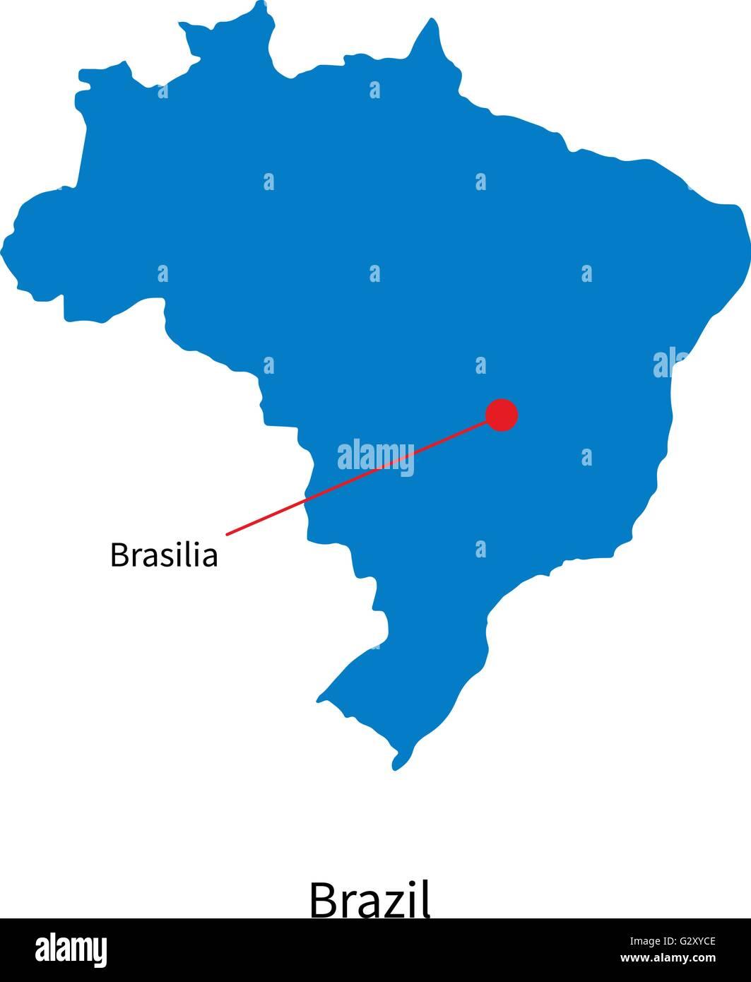 Capital Of Brazil Map Detailed vector map of Brazil and capital city Brasilia Stock