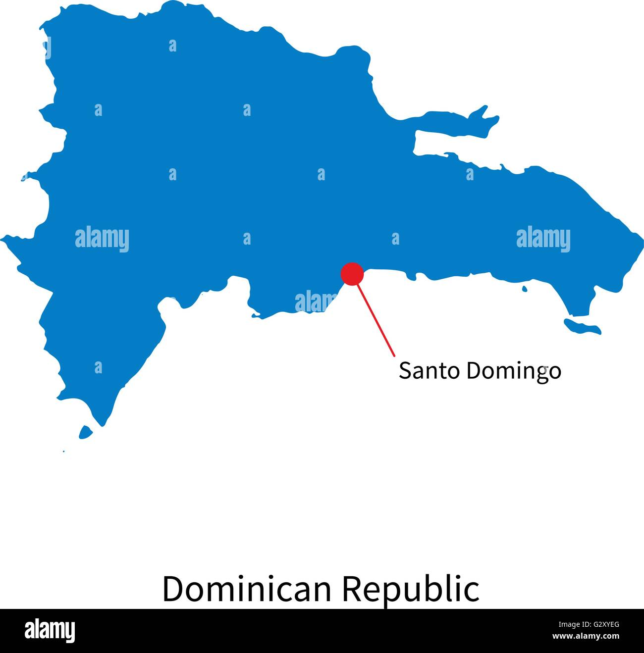 Vector map of Dominican Republic and capital city Santo ...