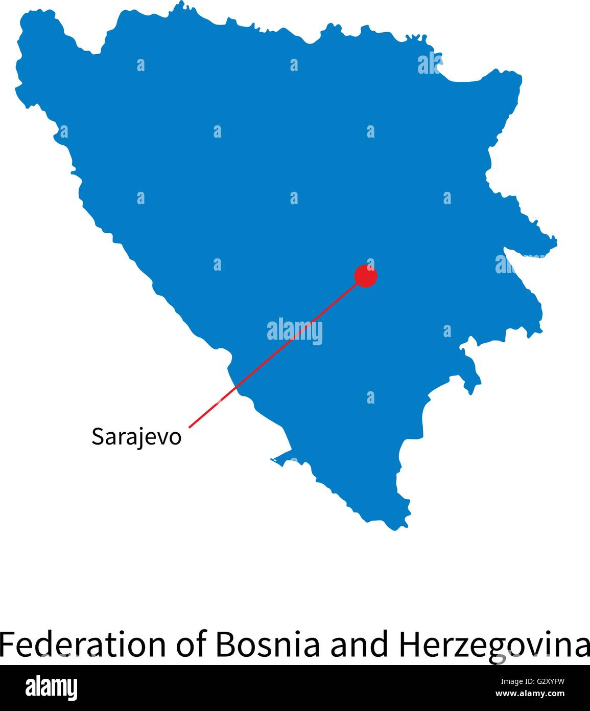 Map Federation Of Bosnia And Herzegovina With Capital City Sarajevo Stock Vector Image Art Alamy
