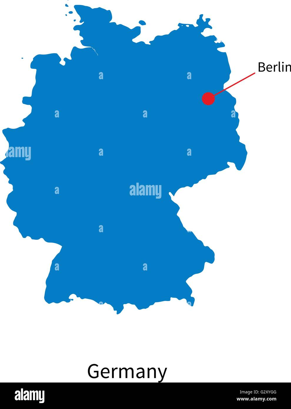 Detailed vector map of Germany and capital city Berlin Stock Vector