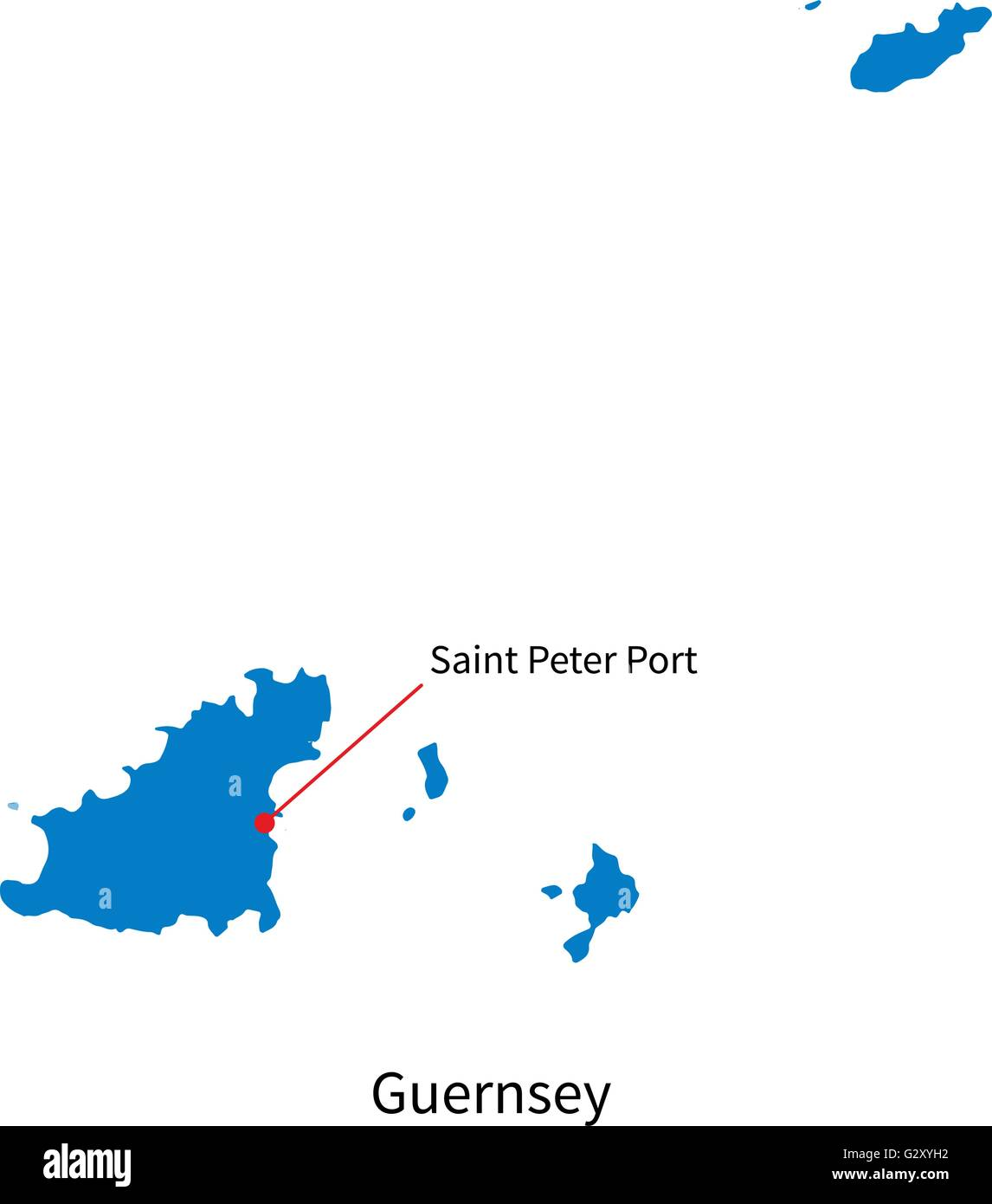 Vector map of Guernsey and capital city Saint Peter Port Stock