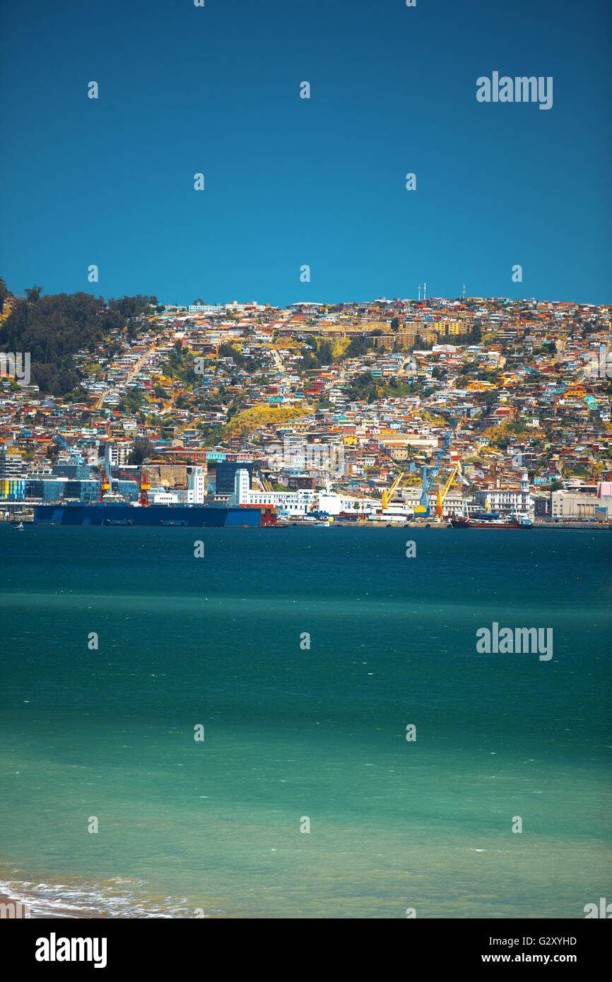 Colorful buildings on the hills of the UNESCO World Heritage city of Valparaiso, Chile - Stock Image
