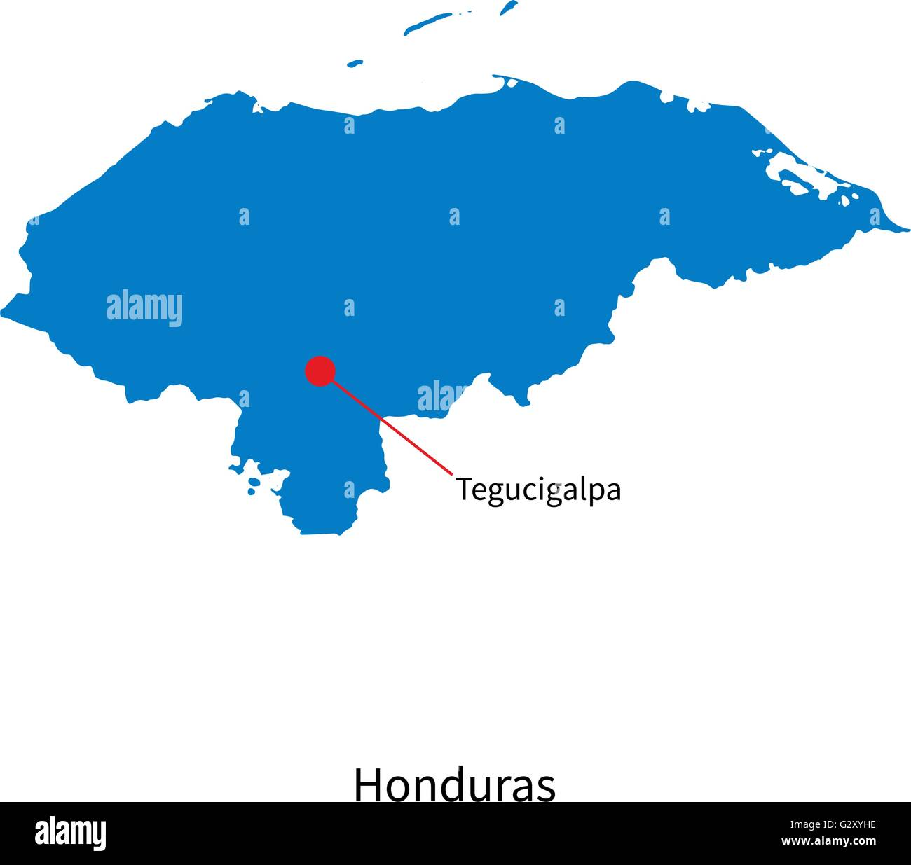 Detailed vector map of honduras and capital city tegucigalpa stock detailed vector map of honduras and capital city tegucigalpa gumiabroncs Gallery