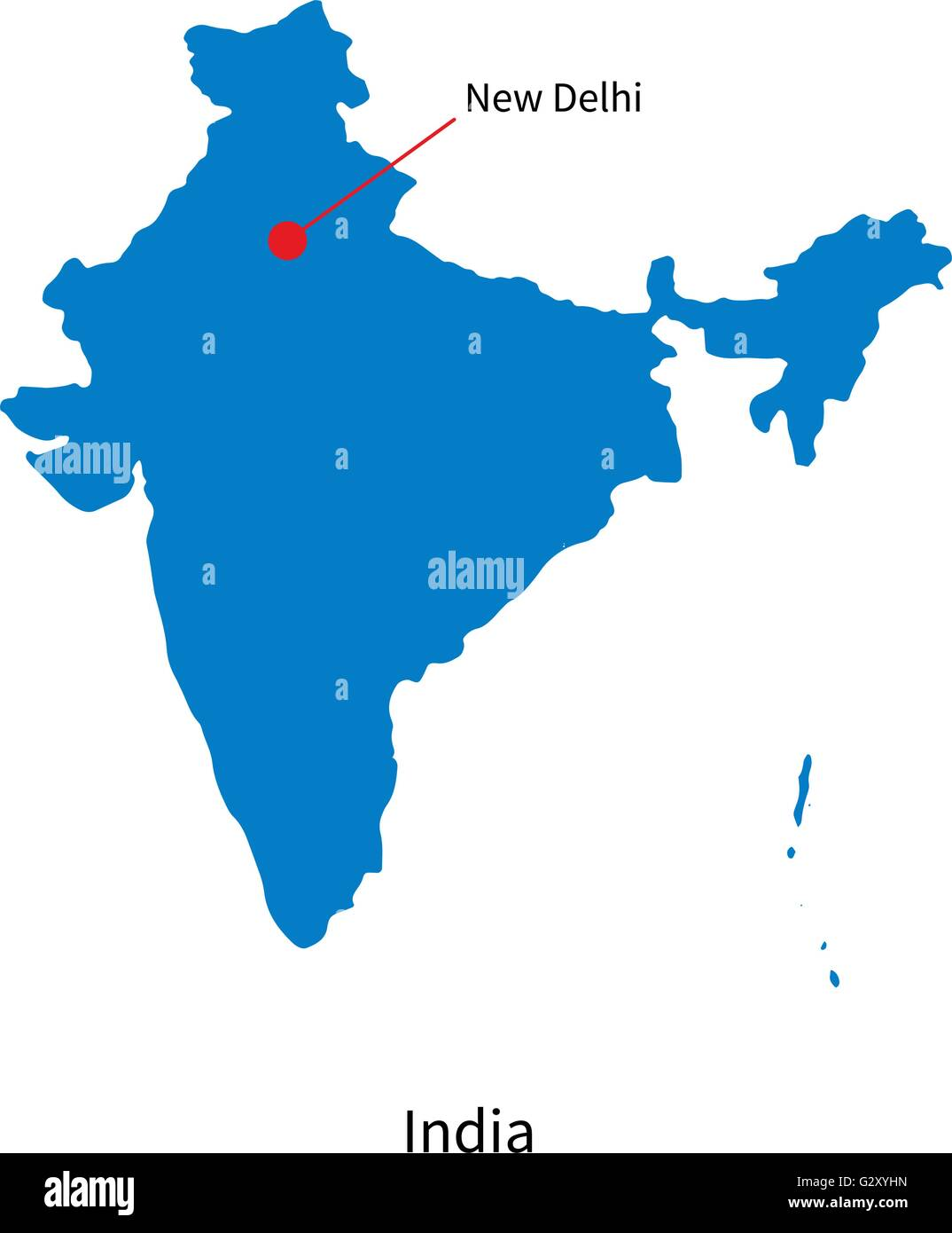 New Delhi India Map Detailed vector map of India and capital city New Delhi Stock