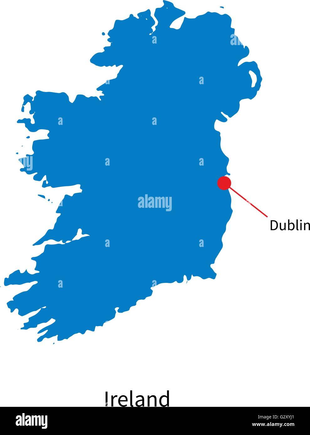 Detailed Map Of Ireland Vector.Detailed Vector Map Of Ireland And Capital City Dublin Stock Vector