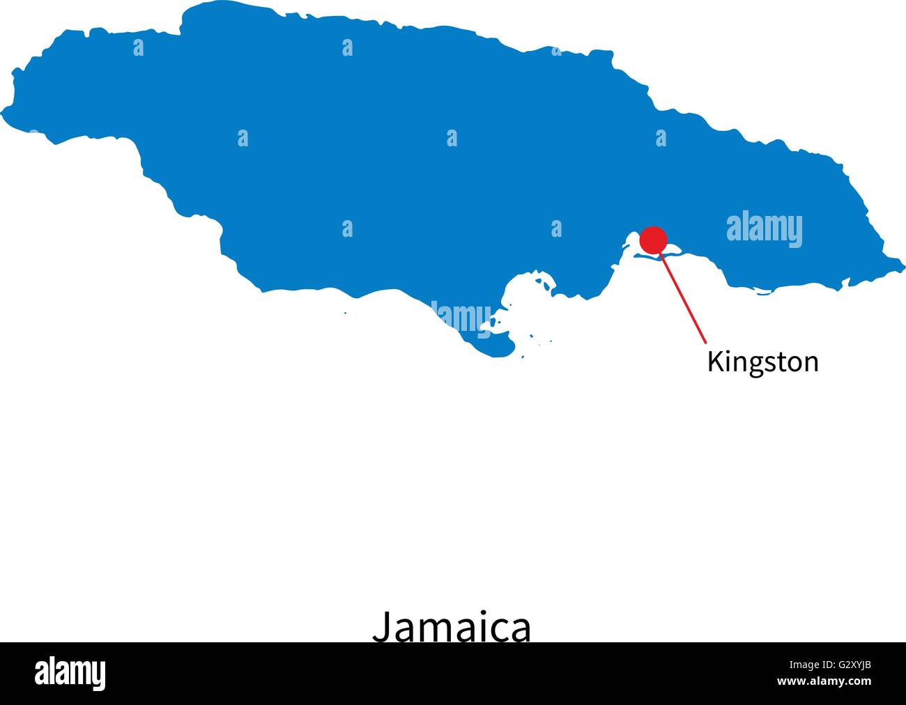 Detailed vector map of Jamaica and capital city Kingston Stock Vector