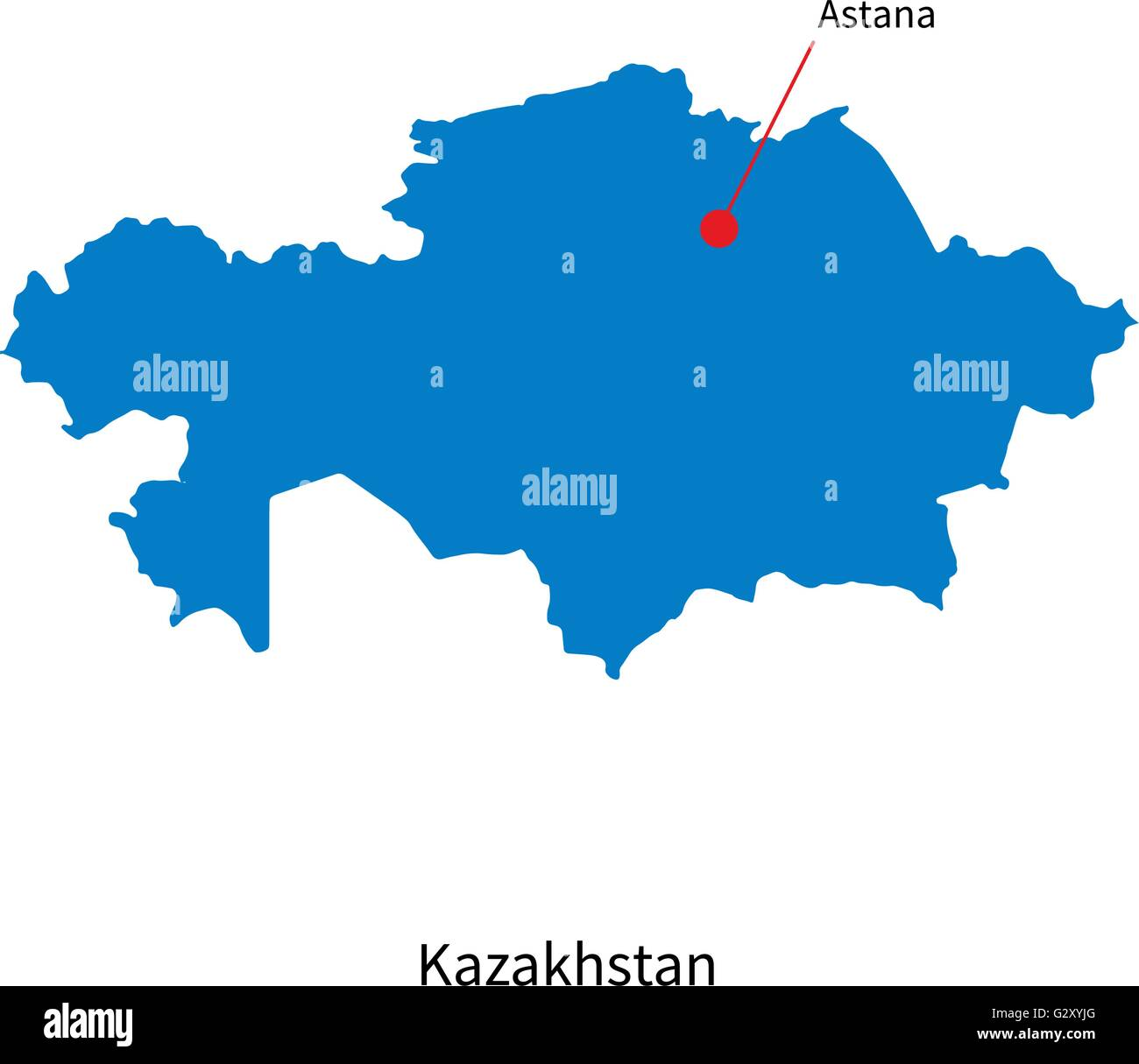 Detailed vector map of kazakhstan and capital city astana stock detailed vector map of kazakhstan and capital city astana gumiabroncs Images
