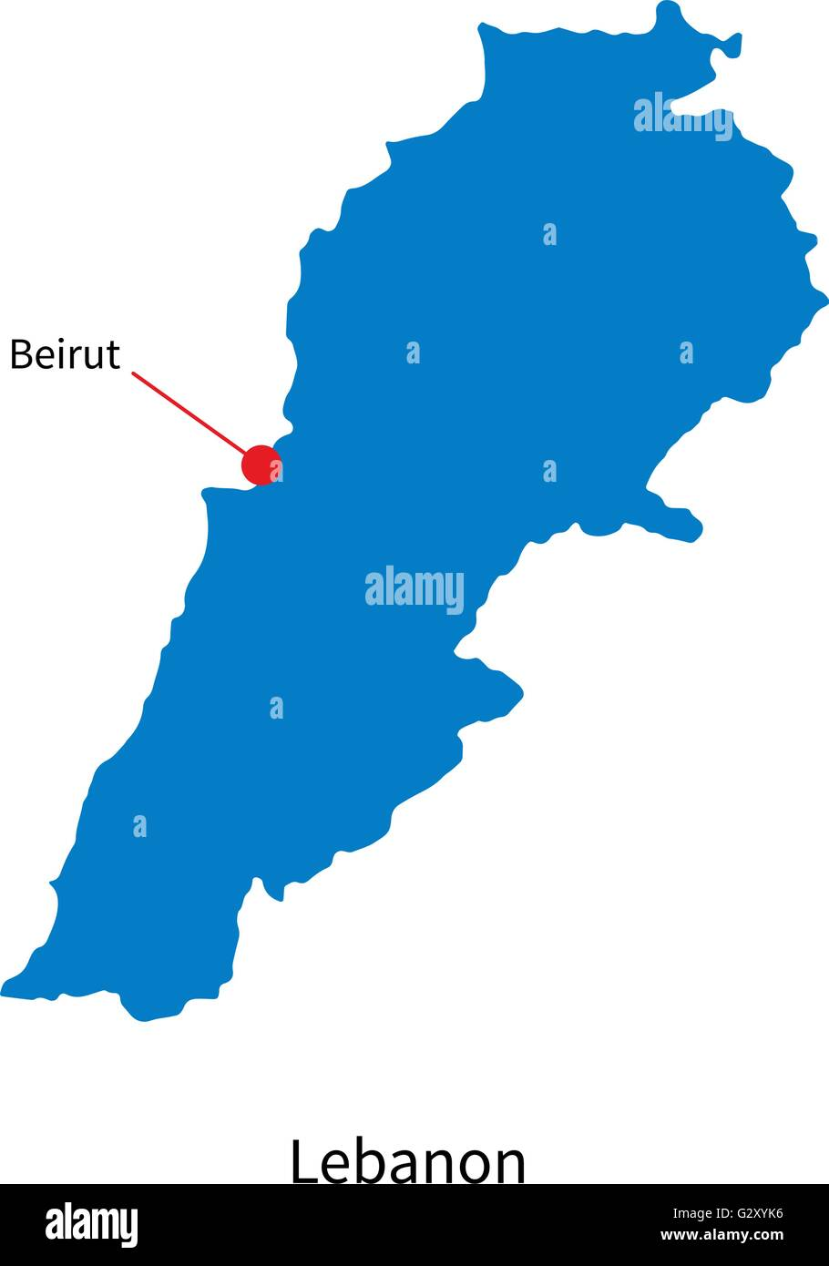Detailed vector map of Lebanon and capital city Beirut Stock Vector