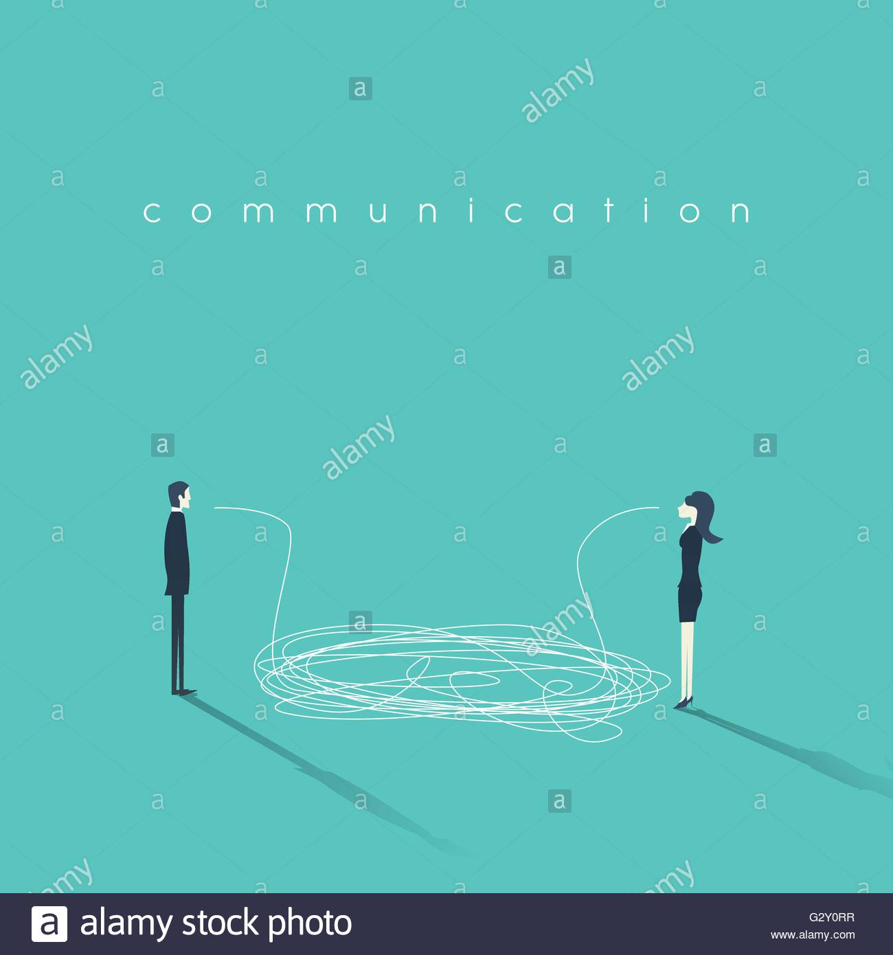 Business communication concept vector illustration. Issues and problems between men, women at work. - Stock Vector