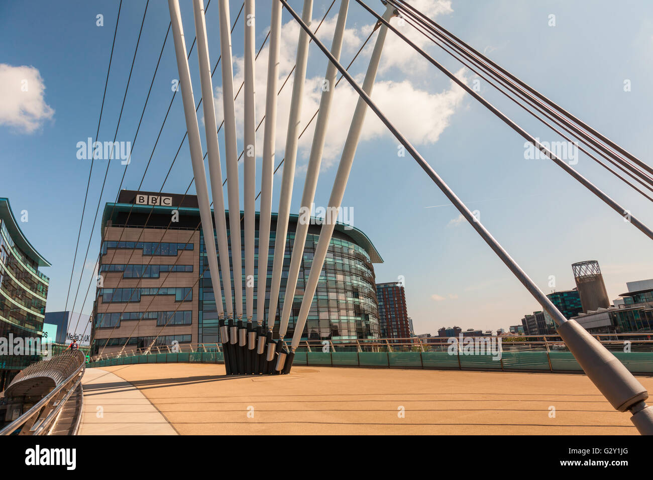 The Media City Footbridge is a swing-mechanism asymmetric cable-stayed bridge over the Manchester Ship Canal near - Stock Image