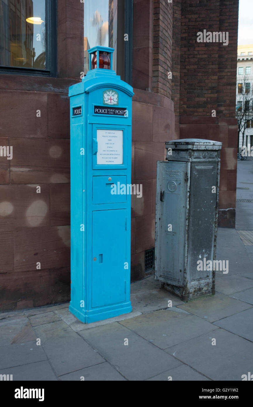 Old police public call box, Queen Victoria Street, London, UK - Stock Image