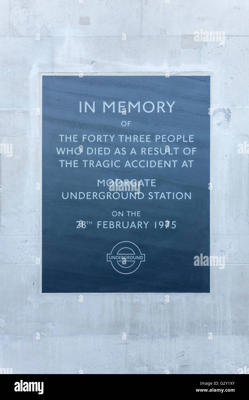 Memorial plaque for the Moorgate Underground Station crash in 1975. London, UK - Stock Image