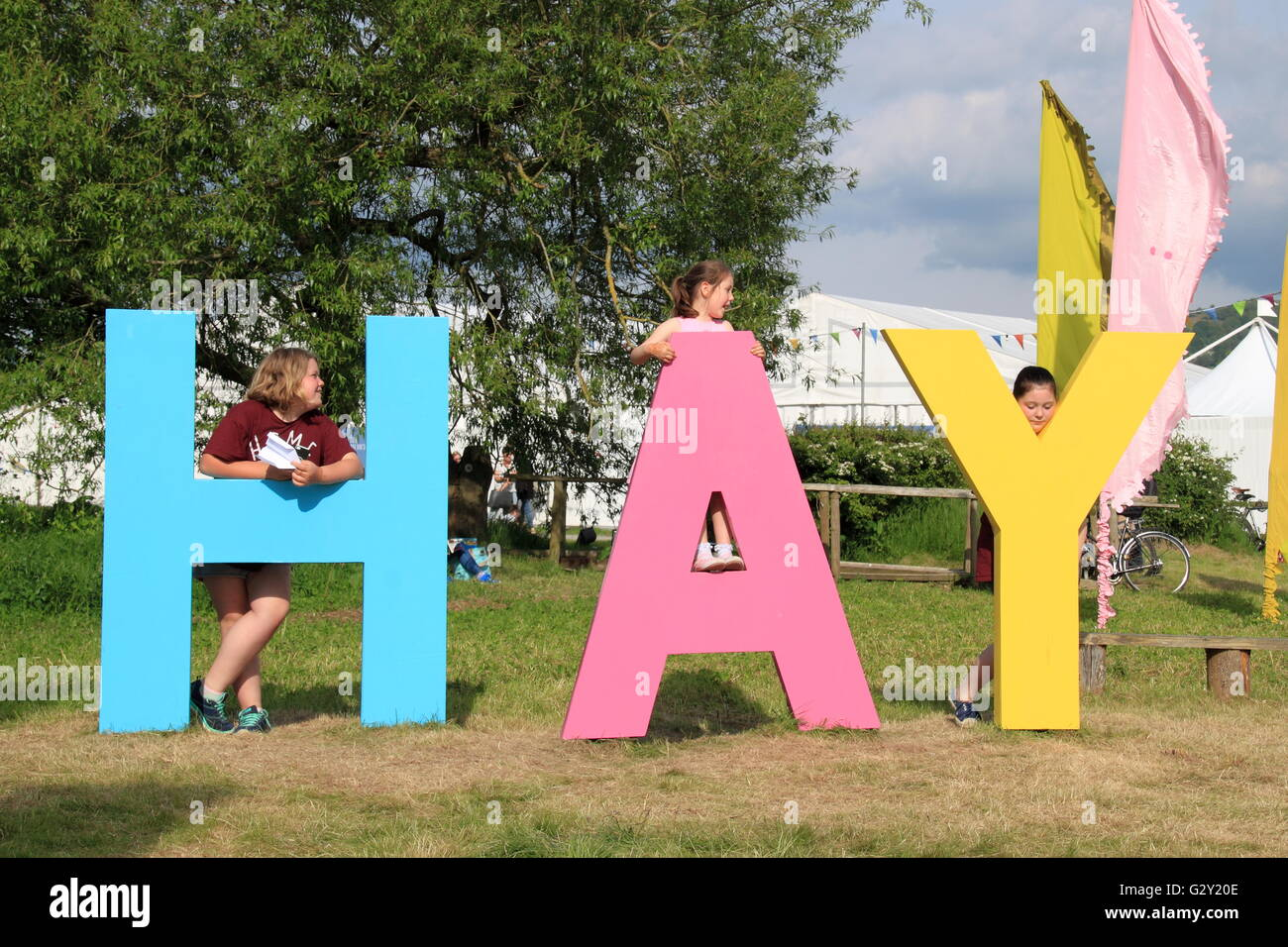 Hay Festival 2016 entrance, Hay-on-Wye, Brecknockshire, Powys, Wales, Great Britain, United Kingdom, UK, Europe - Stock Image