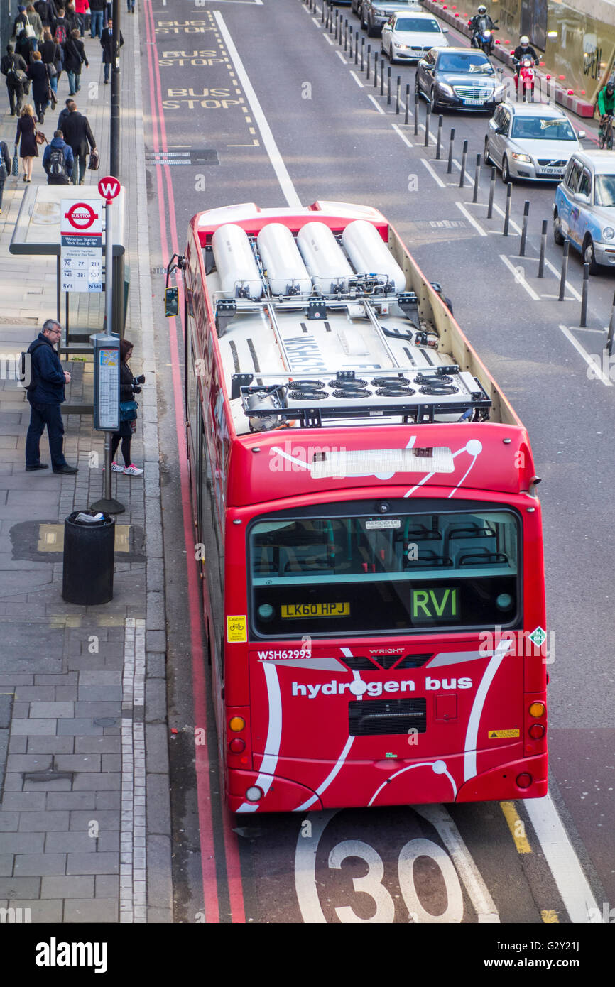 Lower emissions hydrogen fuel cell bus on route RV1. London, UK - Stock Image