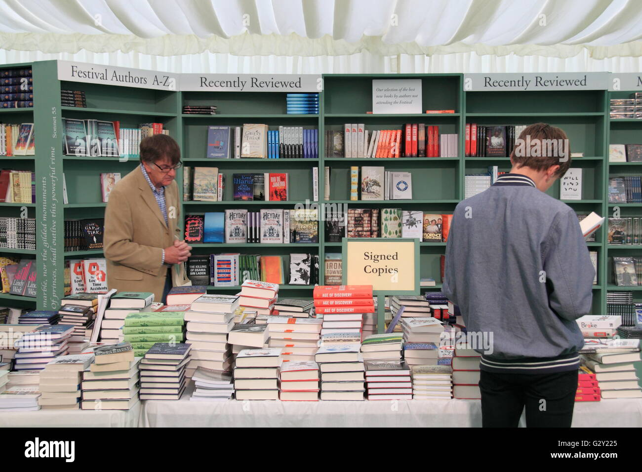 Signed copies, Hay Festival Bookshop 2016, Hay-on-Wye, Brecknockshire, Powys, Wales, Great Britain, United Kingdom, - Stock Image