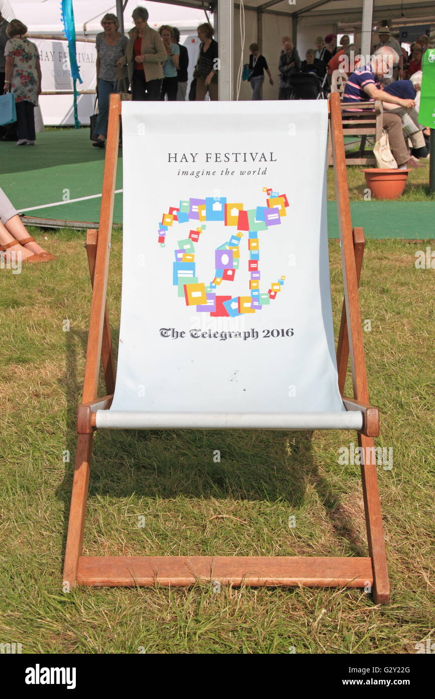 Telegraph deck chair, Hay Festival 2016, Hay-on-Wye, Brecknockshire, Powys, Wales, Great Britain, United Kingdom, - Stock Image