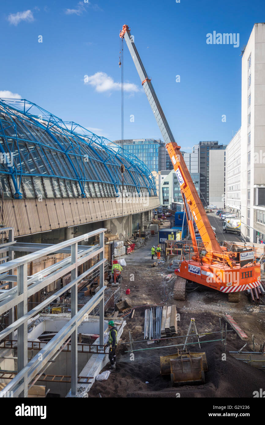 Construction work on the former Eurostar International Terminal at Waterloo Station to convert to standard platform, - Stock Image