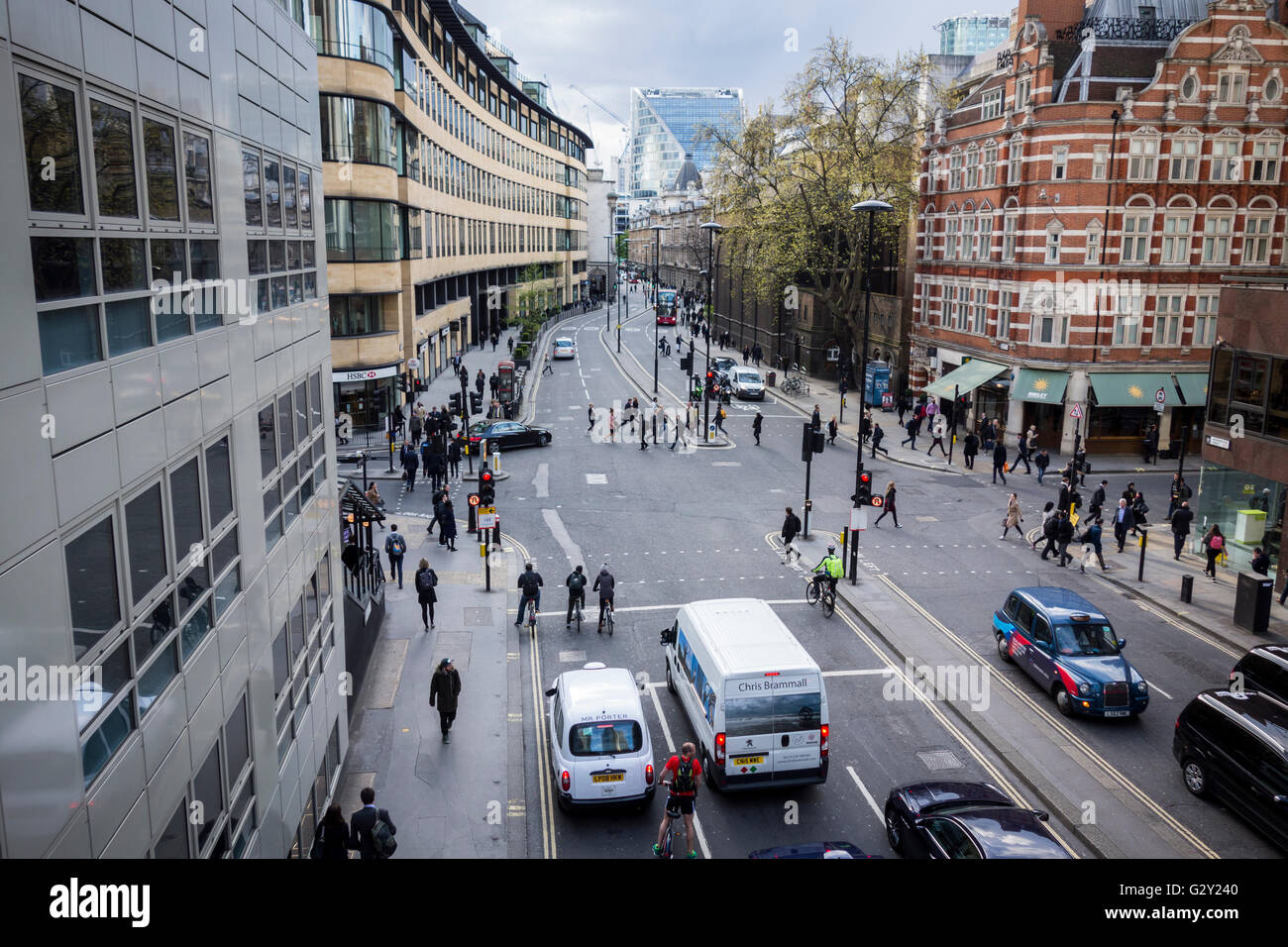 Road junction on Wormwood Street, City of London, UK - Stock Image