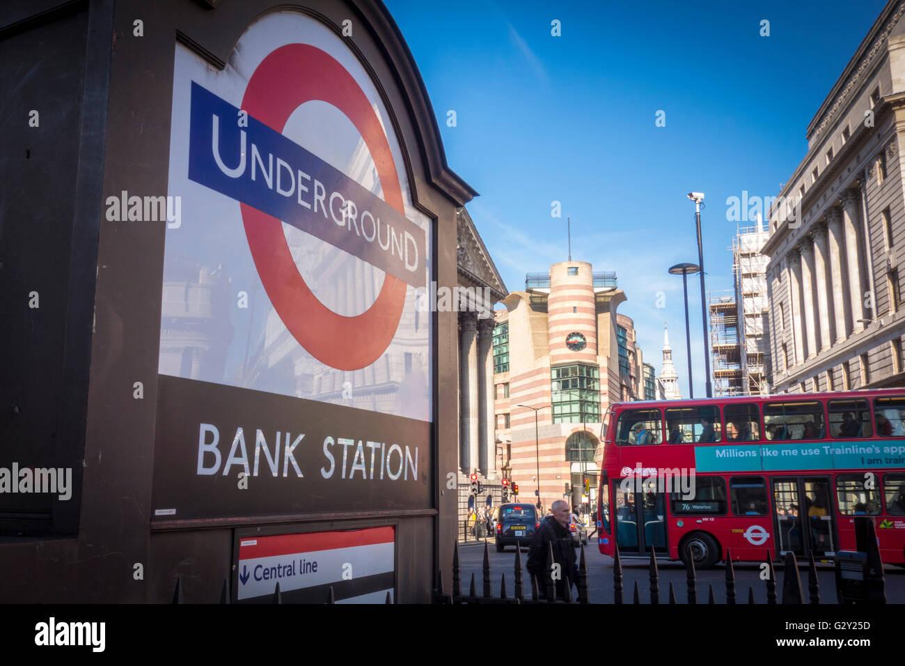 Bank Underground Station sign, City of London, UK - Stock Image