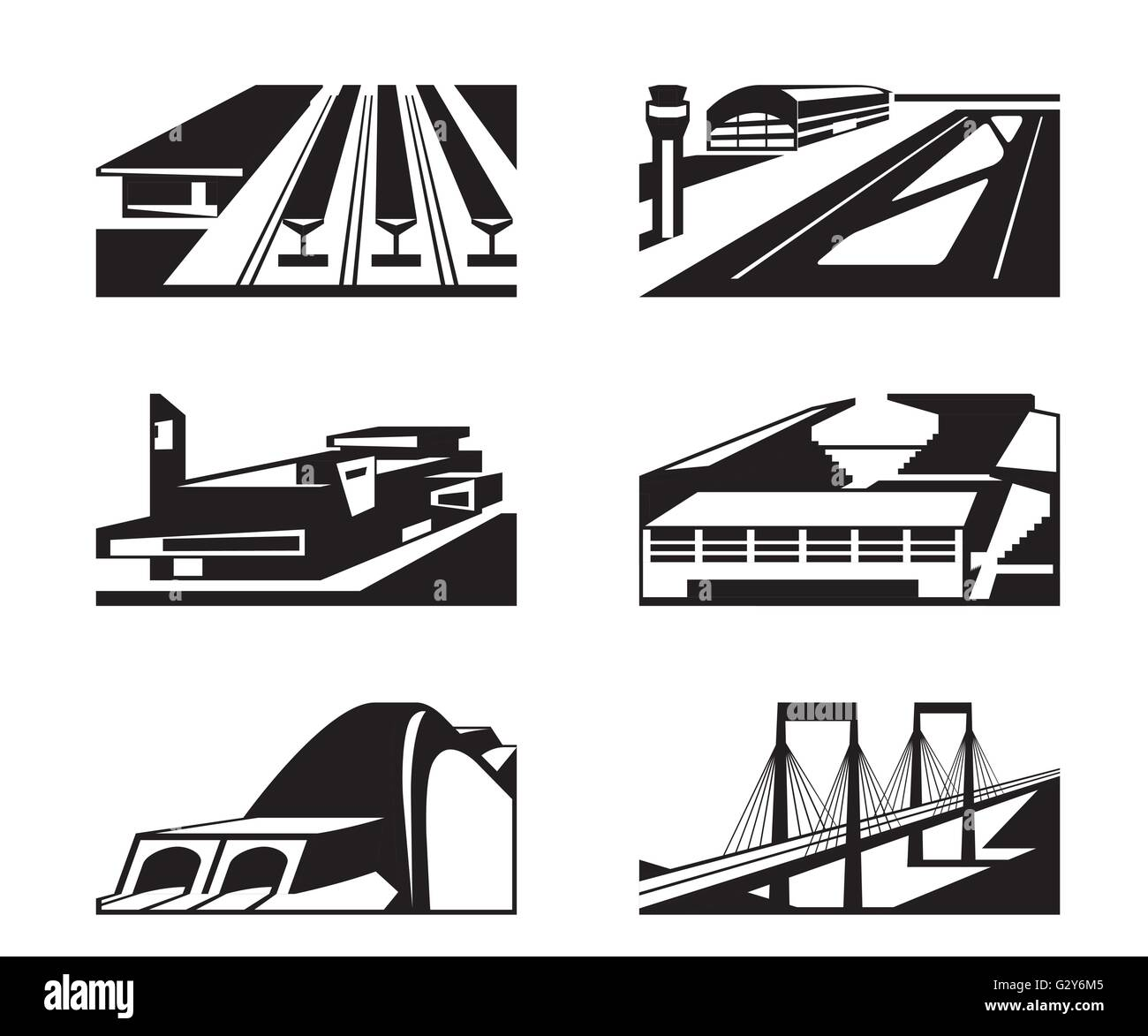 Various types of enormous buildings - vector illustration - Stock Image