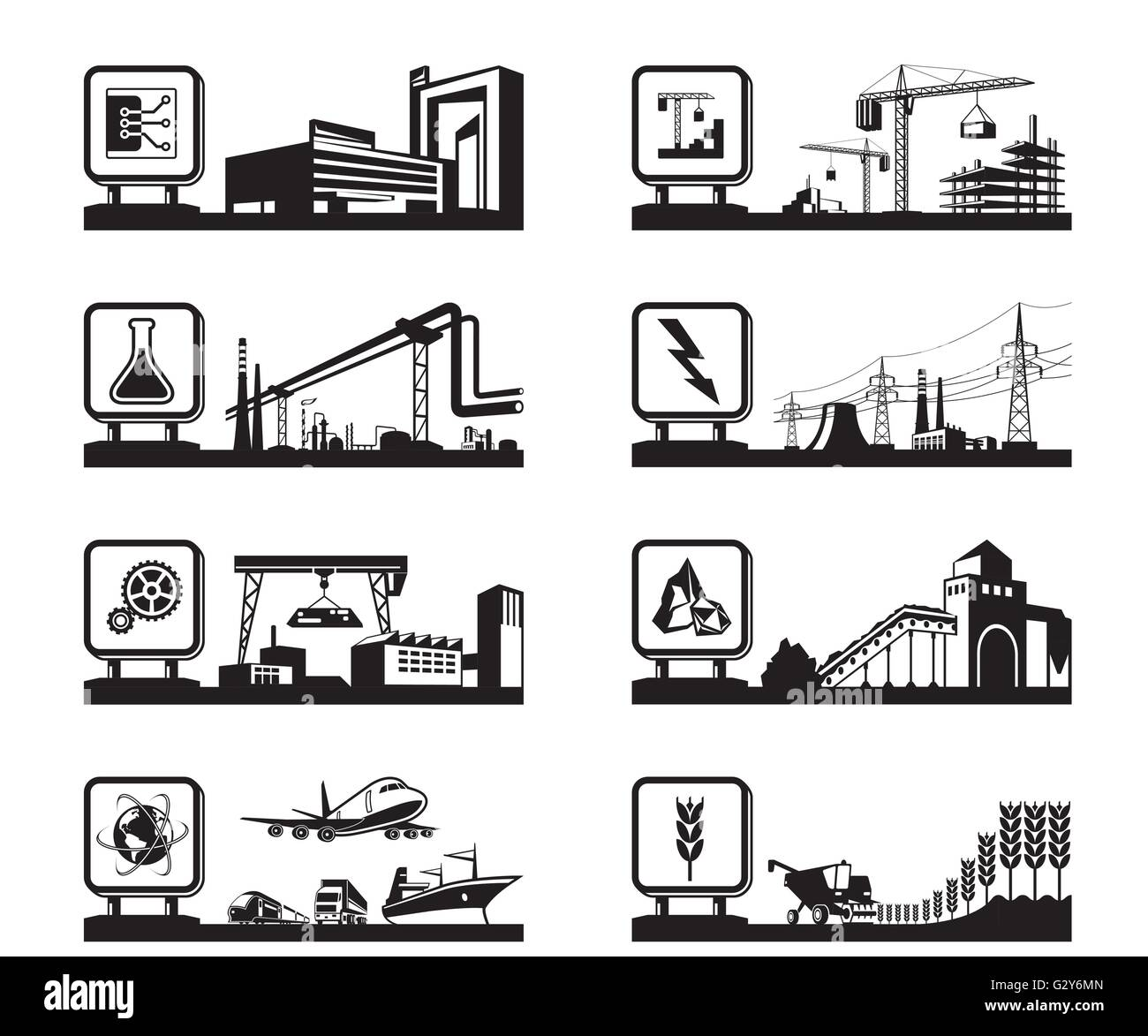 Different industries with logos - vector illustration - Stock Image