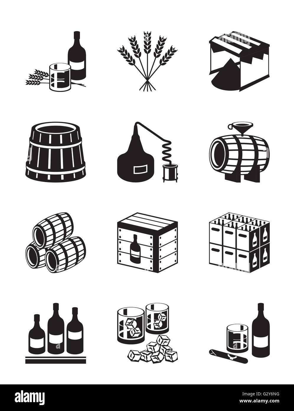 Production of whiskey and brandy - vector illustration - Stock Image
