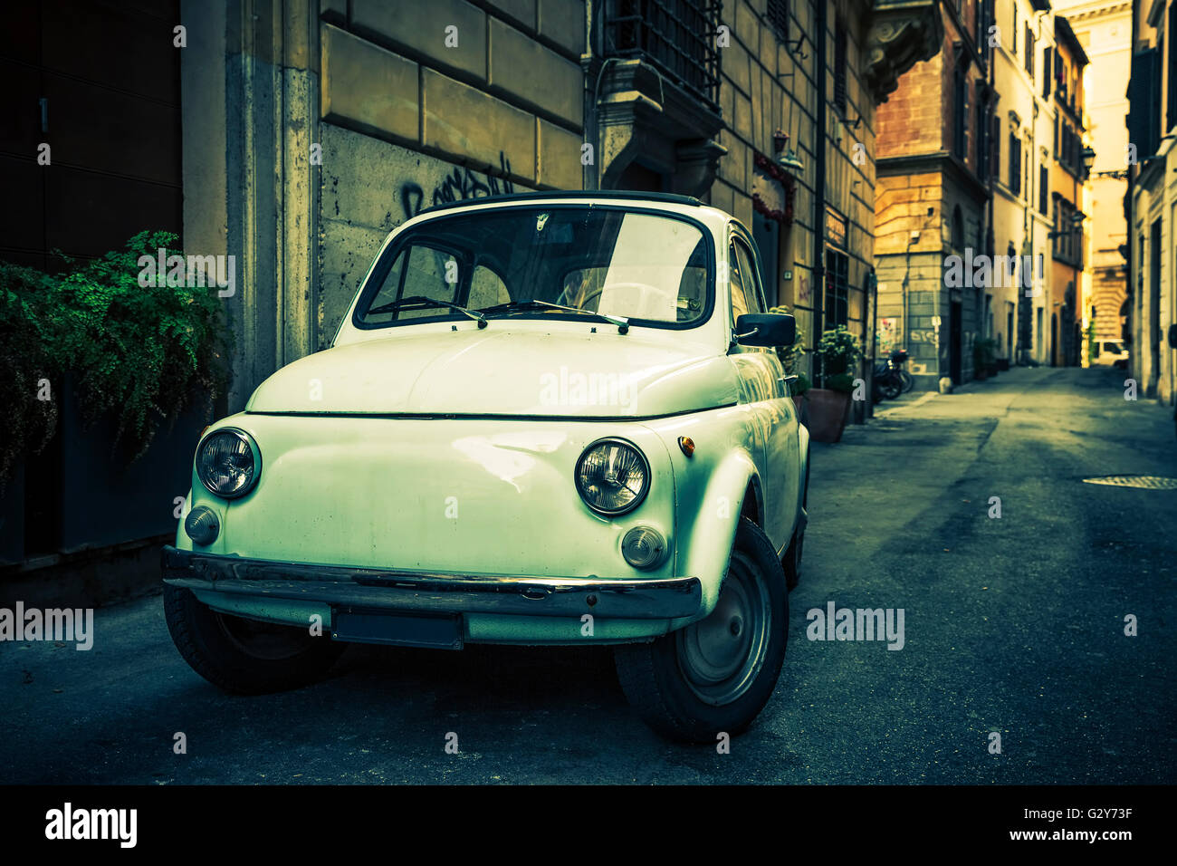 ROME - MAY 27, 2016: A Fiat 500 on September 13, 2011 in Rome. Launched as the Nuova (new) 500 in July 1957, it - Stock Image