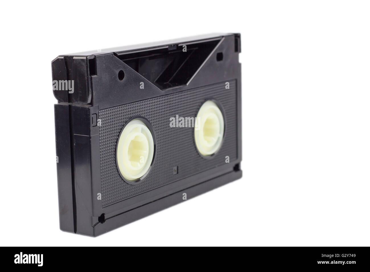 Betamax tape on isolated white background. - Stock Image