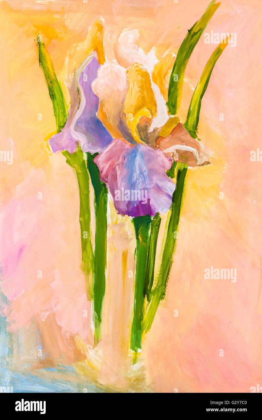 Childs painting bunch of iris flowers on pink background hand childs painting bunch of iris flowers on pink background hand painted by watercolor aquarelle gouache izmirmasajfo