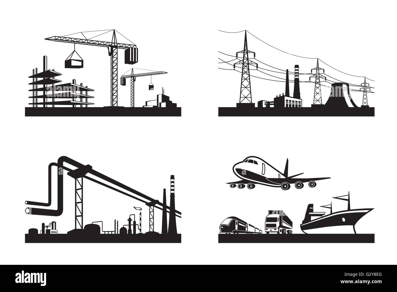 Different types of industries - vector illustration - Stock Image