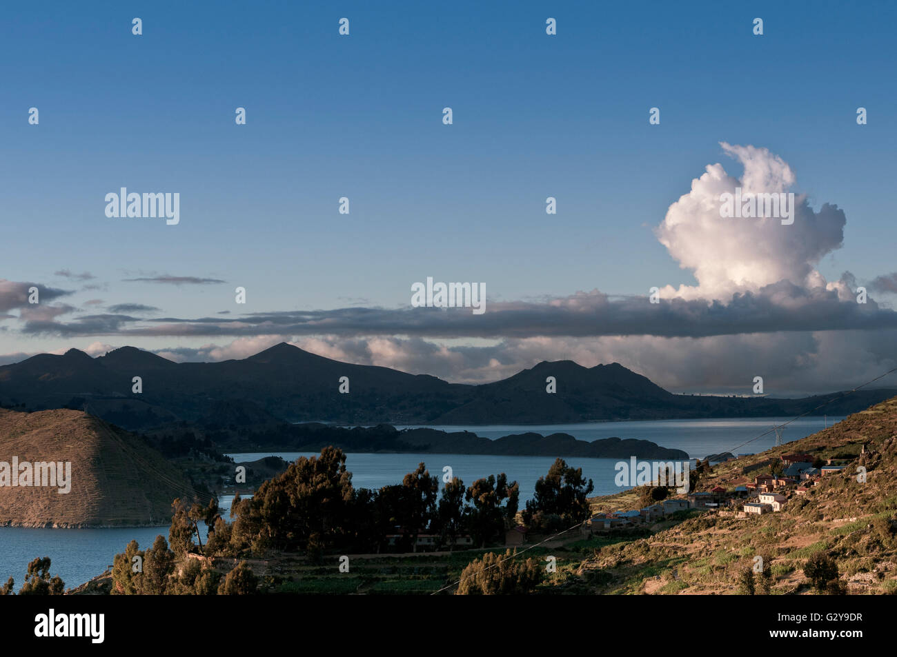 Isla del Sol, Lake Titicaca At Sunset With Clouds - Stock Image