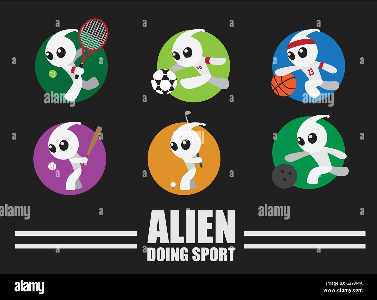 Alien doing sport - Stock Vector