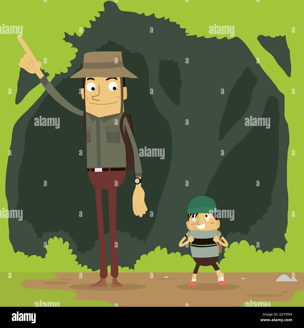 Father and son exploring - Stock Vector